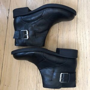 Kenneth Cole Black Moto Ankle Boots Buckle Zip 7